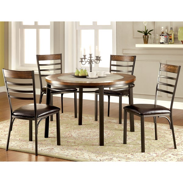 Mennits Industrial Style Round Dining Table 17117067 Overstock