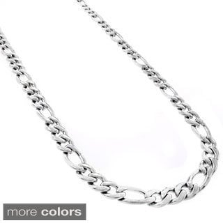 Stainless Steel Men's 7mm Figaro Link Chain Necklace (24-inch)