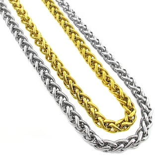 Stainless Steel Men's 6mm Wheat Chain Necklace (24-inch)