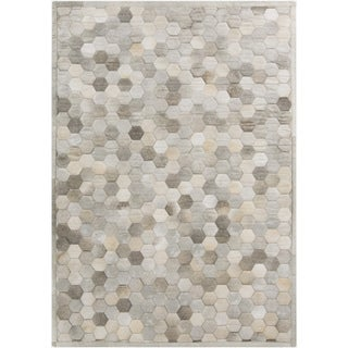 Hand-Crafted Cesar Geometric Hair On Hide Rug (8' x 10')