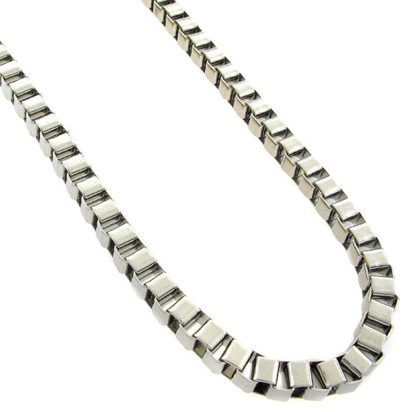 Stainless Steel Men's Women's 6mm Box Link Chain Necklace (24-inch)