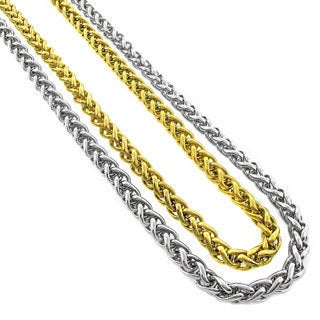 Stainless Steel Men's 5mm Wheat Chain Necklace (24-inch)