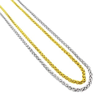 Stainless Steel Men's Women's 3mm Wheat Chain Necklace (24-inch)