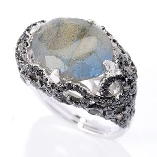 Sterling Silver Labradorite and Black Spinel Ring