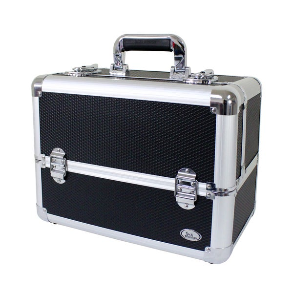 Jacki Design Aluminum Black Make Up Train Case with Adjustable Dividers