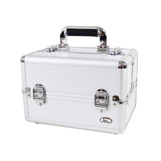 Jacki Design Carrying Aluminum Professional Make Up/ Salon Train Case with Removable Trays