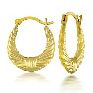 Mondevio 10k Yellow Gold Twist Design Hoop Earrings