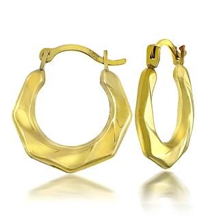 Mondevio 10k Yellow Gold Twist Hoop Earrings