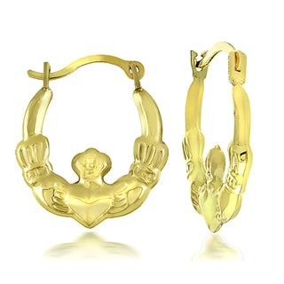 Mondevio 10k Yellow Gold Claddagh Hoop Earrings