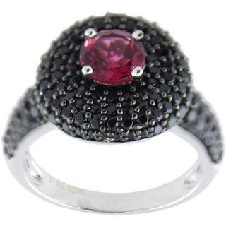 Sterling Silver Round Pink Tourmaline Black Spinel Ring