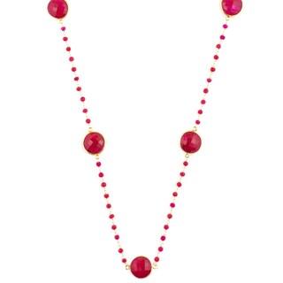 Alchemy Jewelry 22k Goldplated Ruby Gemstone Necklace