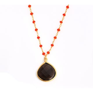 Alchemy Jewelry 22k Gold Overlay Smoky Quartz Carnelian Necklace