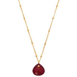Alchemy Jewelry Gold Overlay Red Ruby Gemstone Necklace