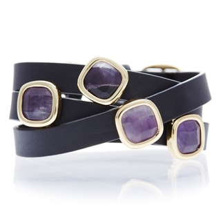 Purple Amythyst Leather Wrap Bracelet