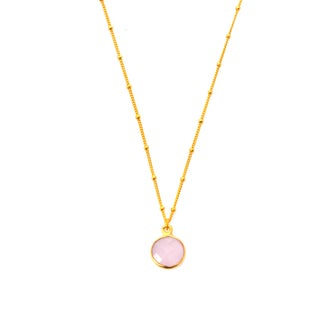 22k Gold Overlay Pink Chalcedony Necklace