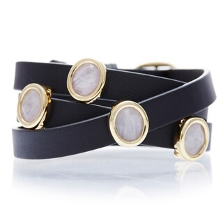 18k Goldplated Rose Quartz Black Leather Wrap Bracelet