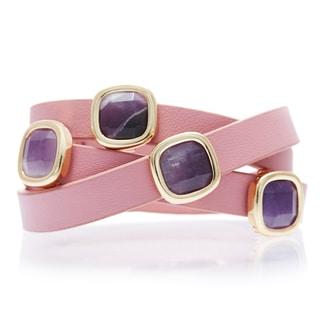 Alchemy Jewelry 18k Goldplated Amethyst Pink Leather Wrap Bracelet