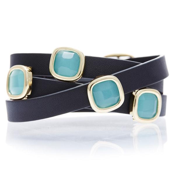 Alchemy Jewelry 18k Gold Overlay Peru Chalcedony Black Leather Wrap Bracelet