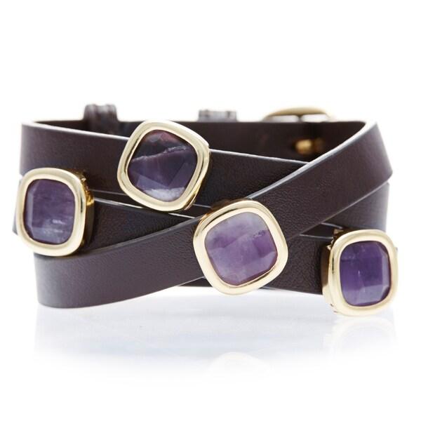 Alchemy Jewelry 18k Goldplated Amethyst Brown Leather Wrap Bracelet