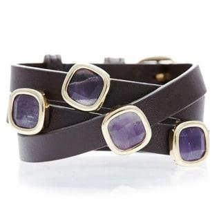 18k Goldplated Amethyst Brown Leather Wrap Bracelet