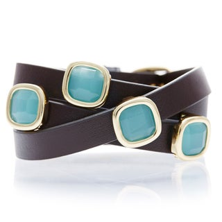 18k Gold Overlay Peru Chalcedony Brown Leather Wrap Bracelet