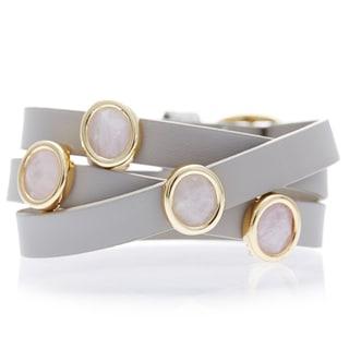 Alchemy Jewelry 18k Gold Overlay Rose Quartz Leather Wrap Bracelet