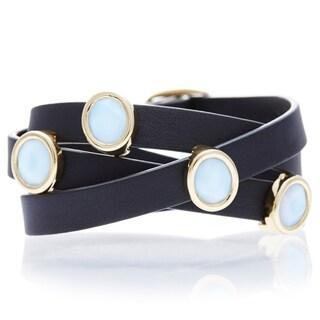 Alchemy Jewelry White Oval Chacedony Leather Wrap Bracelet