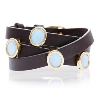 White Chalecedony Gemstone Leather Wrap Bracelet