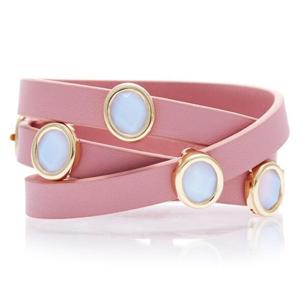 Alchemy Jewelry White Chalcedony Pink Leather Wrap Bracelet