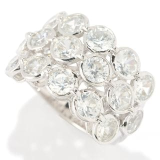 Sterling Silver Round White Zircon 3-row Ring