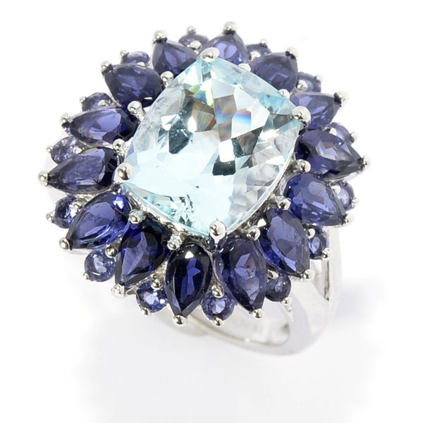 14k White Gold Aquamarine Iolite Flower Ring