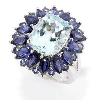 14k White Gold Aquamarine Iolite Flower Ring