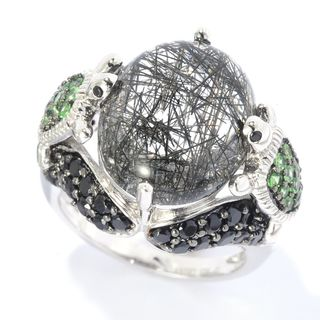 Sterling Silver Multi-gemstone Turtle Ring