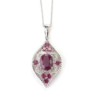 Sterling Silver Multi-gemstone Beveled Edge Pendant Necklace