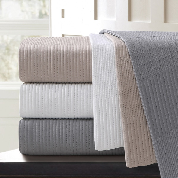 Echelon Home Echelon Sonoma Quilted Cotton Blanket King Size in Grey (As Is Item)