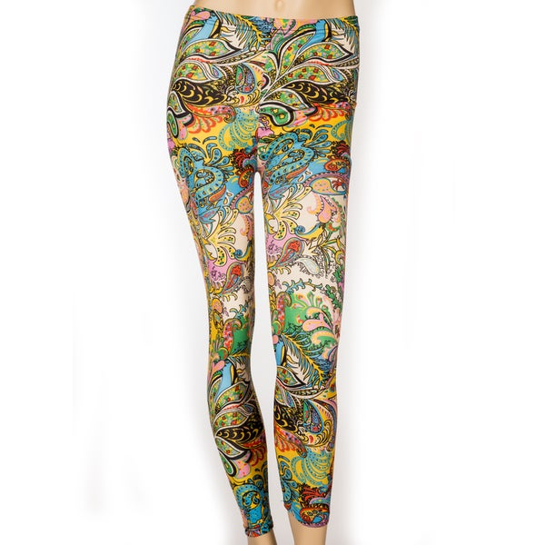 Women's Full Length Bright Paisley Print Leggings