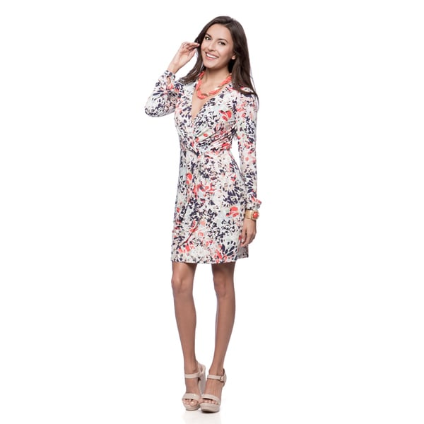 Jessica Simpson Women's Karen Print Long-sleeve Wrap Dress
