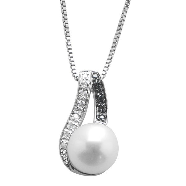 Sterling Silver White Fresh Water Pearl Black/ White Diamond Accent Pendant (8-8.5 mm) (I-J, I2-I3)