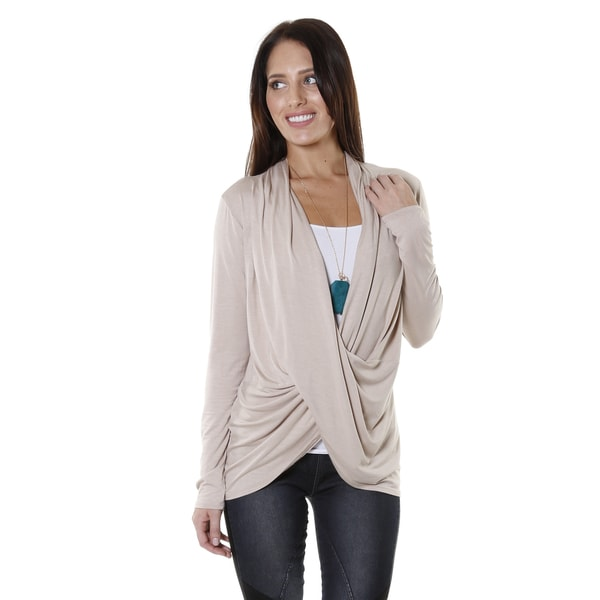 Hadari Women's Cowl V-Neck Long Sleeve Blouse