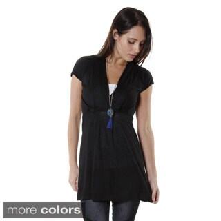 Hadari Women's Contemporary V-Neck Short Sleeve Blouse