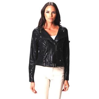 Sara Boo Black Faux Alligator Moto Jacket