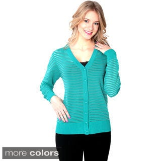 Nancy Yang Button-Front Cross-Stripe Cardigan