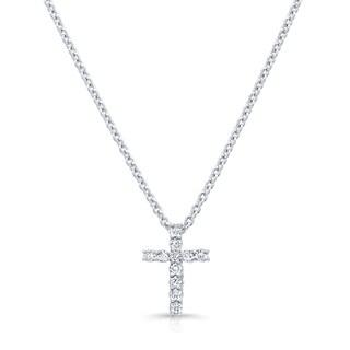 Platinum over Silver 1/4ct TDW Diamond Cross Pendant Necklace (H-I, I1-I2)