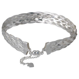 Karizia Italian Sterling Silver Herringbone Chain Bracelet