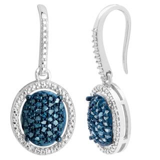 Sterling Silver 2/5ct TDW Blue Diamond Dangling Fashion Earrings