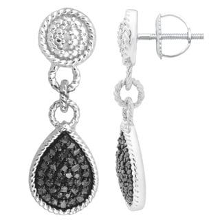 Divina Sterling Silver 1/2ct. TDW Black Diamond Dangling Fashion Earrings