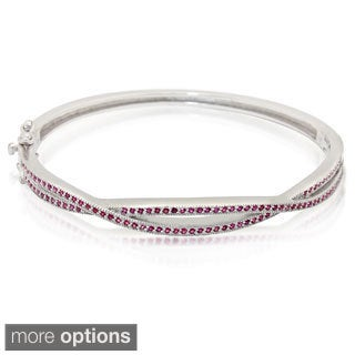 Sterling Silver Gemstone Criss-cross Bangle