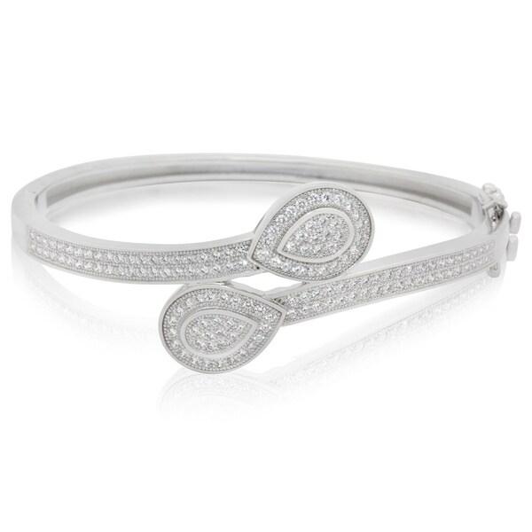 Sterling Silver Cubic Zirconia Teardrop Overlap Bracelet