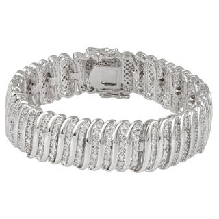 Silverplated 2ct TDW White Diamond Fashion Wrap Bracelet
