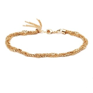 18k Goldplated Ball and Snake Link Chain Tassel Charm Braided Anklet